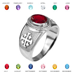 White Gold Jerusalem 'Crusaders' Cross Color CZ Unisex Ring