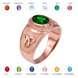 Rose Gold Celtic Trinity Band Birthstone CZ Ring