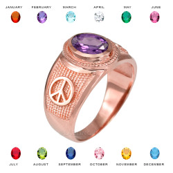Rose Gold Peace Sign Band CZ Birthstone Ring