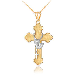 Two-Tone Gold Rosary Cross Prayer Pendant Necklace