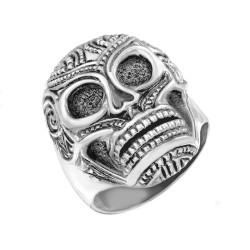Solid Sterling Silver Santa Muerte Sugar Skull Mens Ring