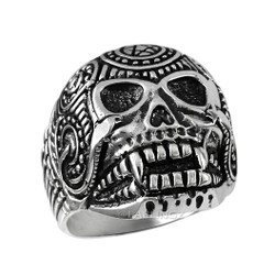 Sterling Silver Mens Sugar Skull Biker Ring