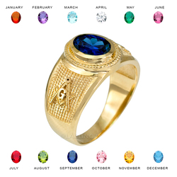 Yellow Gold Masonic CZ Birthstone Ring