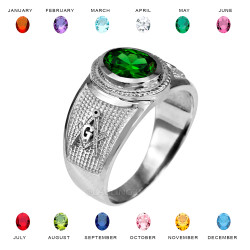 Sterling Silver Masonic CZ Birthstone Ring
