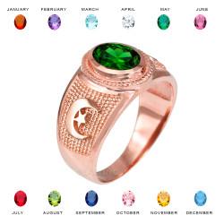 Rose Gold Islamic Crescent Moon CZ Birthstone Ring