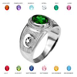 White Gold Islamic Crescent Moon CZ Birthstone Ring