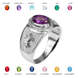 White Gold Fleur De Lis CZ Birthstone Ring