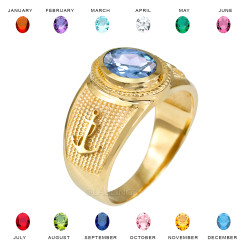 Yellow Gold Mariner Anchor CZ Birthstone Ring