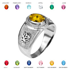 White Gold Lotus Flower Yoga CZ Birthstone Ring