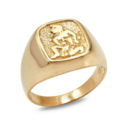 Gold Aquarius Mens Zodiac Ring
