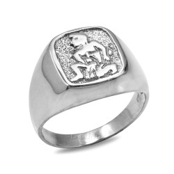 White Gold Aquarius Mens Zodiac Ring