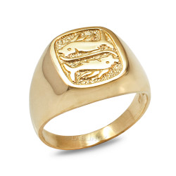 Gold Pisces Mens Zodiac Ring