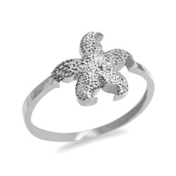 White Gold Dainty Starfish Ring