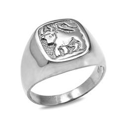 Sterling Silver Taurus Mens Zodiac Ring