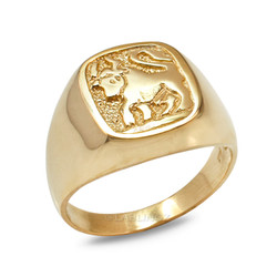 Yellow Gold Taurus Mens Zodiac Ring