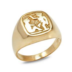 Yellow Gold Gemini Mens Zodiac Ring