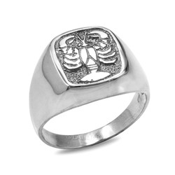 Sterling Silver Cancer Mens Zodiac Ring