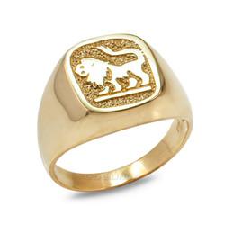 Yellow Gold Leo Mens Zodiac Ring