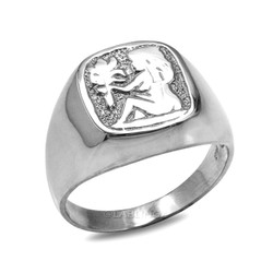 Sterling Silver Virgo Mens Zodiac Ring