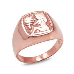 Rose Gold Virgo Mens Zodiac Ring