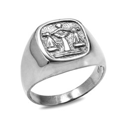 Sterling Silver Libra Mens Zodiac Ring