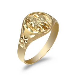 Yellow Gold Gemini Satin DC Band Ladies Zodiac Ring