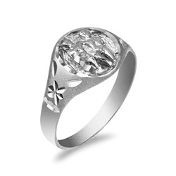 White Gold Gemini Satin DC Band Ladies Zodiac Ring
