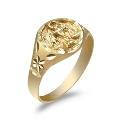 Yellow Gold Libra Satin DC Band Ladies Zodiac Ring