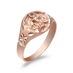 Rose Gold Libra Satin DC Band Ladies Zodiac Ring
