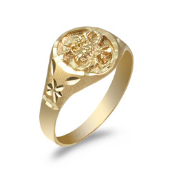Yellow Gold Scorpio Satin DC Band Ladies Zodiac Ring