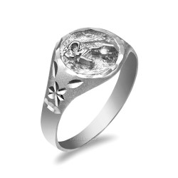 White Gold Taurus Satin DC Band Ladies Zodiac Ring