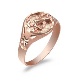 Rose Gold Leo Satin DC Band Ladies Zodiac Ring