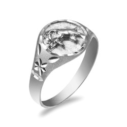 White Gold Aries Satin DC Band Ladies Zodiac Ring