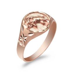 Rose Gold Aries Satin DC Band Ladies Zodiac Ring