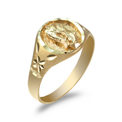 Yellow Gold Pisces Satin DC Band Ladies Zodiac Ring