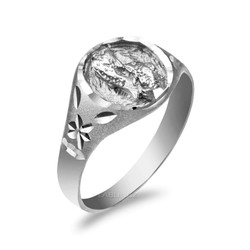 Sterling Silver Pisces Satin DC Band Ladies Zodiac Ring