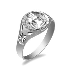 White Gold Aquarius Satin DC Band Ladies Zodiac Ring