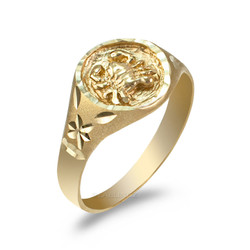 Yellow Gold Cancer Satin DC Band Ladies Zodiac Ring