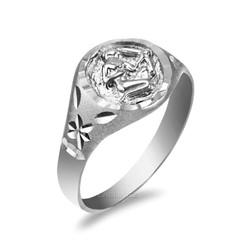 White Gold Sagittarius Satin DC Band Ladies Zodiac Ring