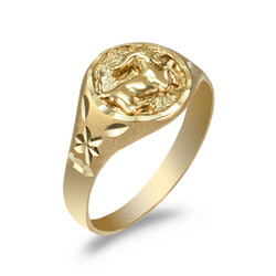 Yellow Gold Capricorn Satin DC Band Ladies Zodiac Ring