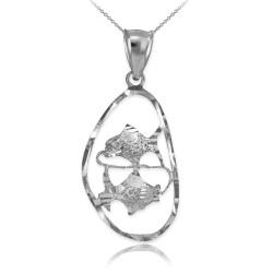 White Gold Pisces Zodiac Sign DC Pendant Necklace