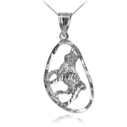 White Gold Taurus Zodiac Sign DC Pendant Necklace