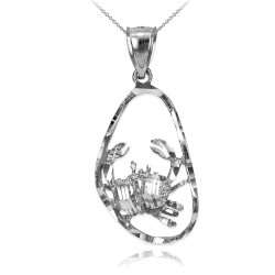 Sterling Silver Cancer Zodiac Sign DC Pendant Necklace