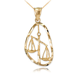 Gold Libra Zodiac Sign DC Pendant Necklace