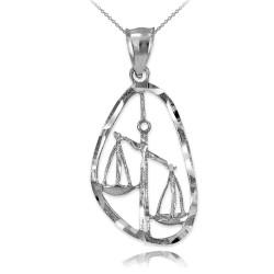 Sterling Silver Libra Zodiac Sign DC Pendant Necklace