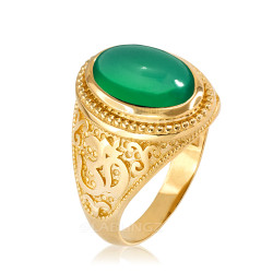 Gold Om Oval Cabochon Green Onyx Gemstone Mens Yoga Ring