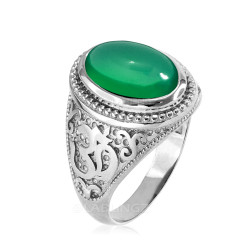 White Gold Om Oval Cabochon Green Onyx Gemstone Mens Yoga Ring