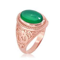 Rose Gold Om Oval Cabochon Green Onyx Gemstone Mens Yoga Ring