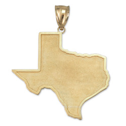 Yellow Gold Mens Large Texas State Map Pendant