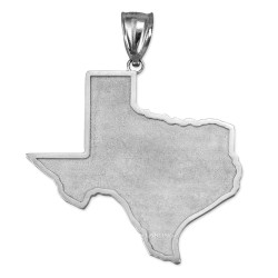 Sterling Silver Mens Large Texas State Map Pendant